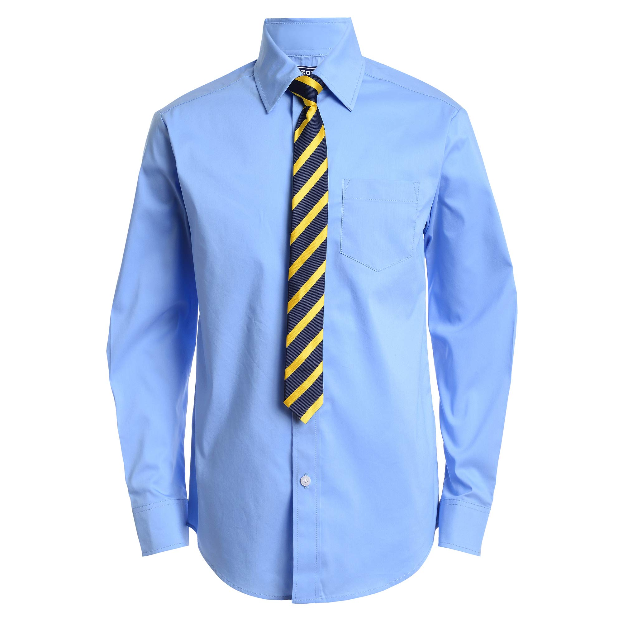 IZOD Boys' Big Long Sleeve Dress Shirt with Tie, Ocean View, 10