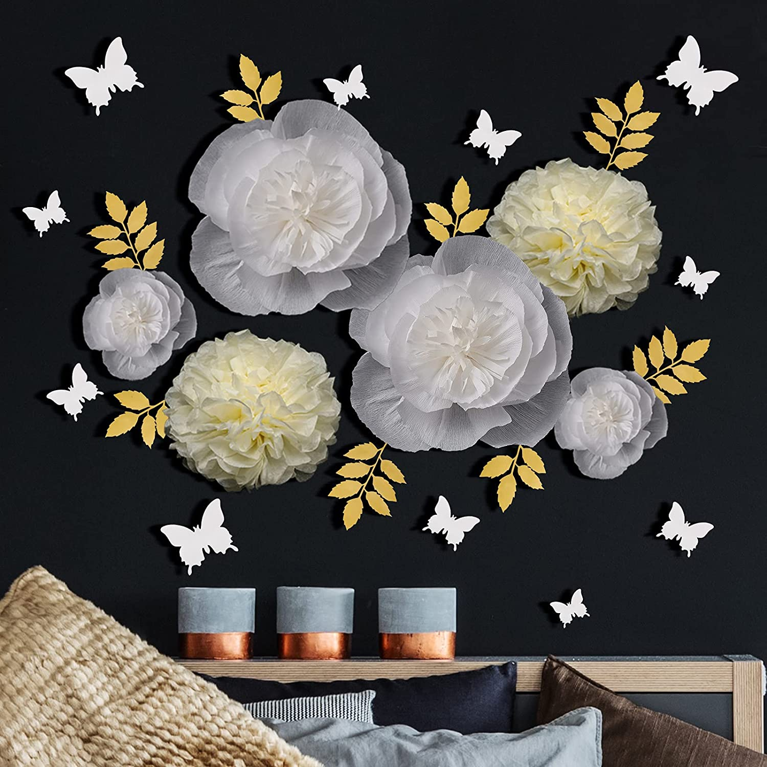 26 Pieces White Paper Flower Decorations 3D Butterfly Sticker and Gold Leaves 3D Paper Flowers Wall Decor Butterfly Wall Decals for Wedding Baby Room Birthday Party Nursery Home Wall Decoration