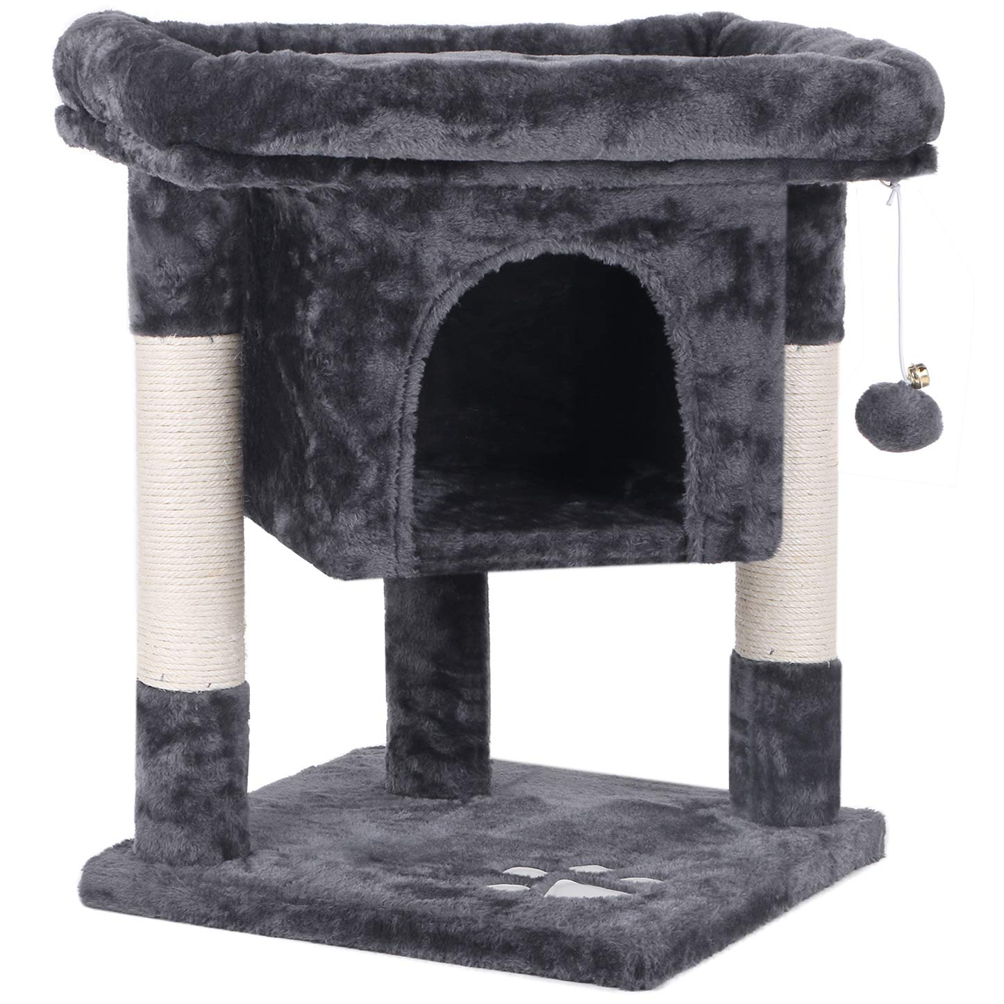BEWISHOME Cat Tree Cat House Cat Condo with Sisal Scratching Posts, Plush Perch, Cat Tower Furniture Cat Bed Kitty Activity Center Kitten Play House, Grey MMJ08B by BEWISHOME