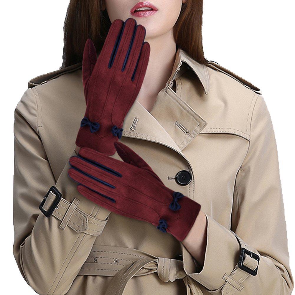 Vbiger Damen Handschuhe Winterhandschuhe Fahrradhandschuhe Damen Touchscreen Handschuhe Warme Winter Handschuhe mit Fleecefutter, Rot+blau, M