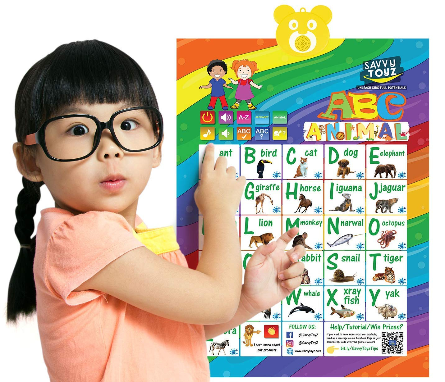 SavvyToyZ Educational Toys for 2-5 Year Olds - Help Your Toddler's Development and Education with Preschool Learning Toys - Fun Talking Interactive Poster for Entertainment and Learning Alphabet