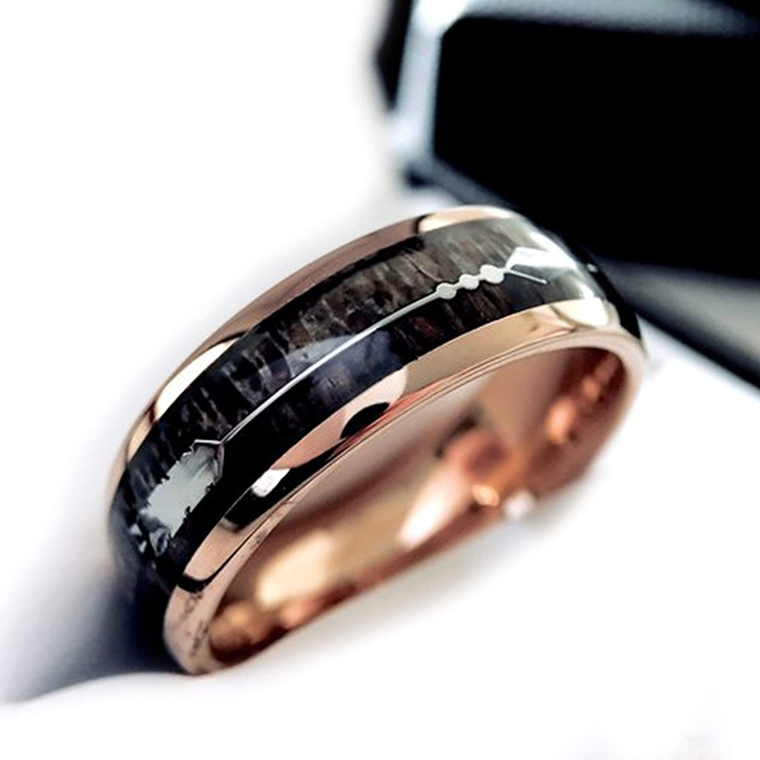This is a photo of Rose Gold Tungsten Ring, Antler Ring, Wood Ring, Mens Tungsten