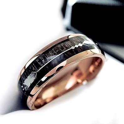 879bbdab31ce2 Rose Gold Tungsten Ring, Antler Ring, Wood Ring, Mens Tungsten Band ...