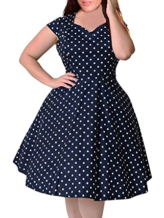 Nemidor Women\'s 1950s Style Cap Sleeve Polka Dot Summer Vintage Plus ...