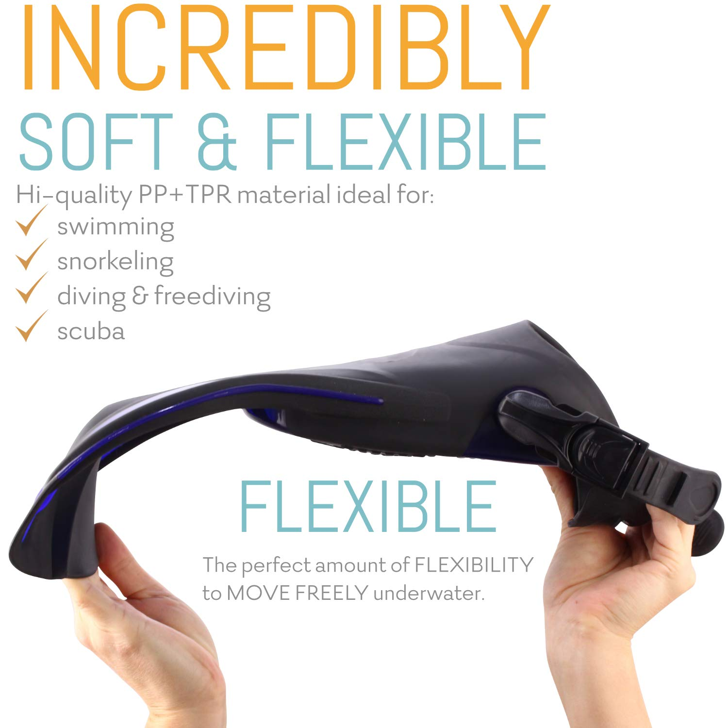 cozia design Swim Fins with Water Socks Snorkel Fins Swimming Optimized for Ease of use with Neoprene Socks for Extra Comfort