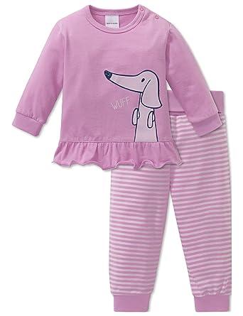8823a48891 Schiesser Mädchen Zweiteiliger Schlafanzug Puppy Love Baby Anzug 2-teilig,  Rot (Rosa 503