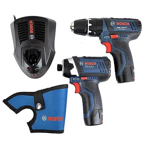 Bosch Professional Set 10.8/12 V GSB 10.8-2-LI Professional Combi + GDR 10.8-LI Professional Impact Driver + 2 x 2.0 Ah Batteries + AL 1130 CV, in an L-BOXX