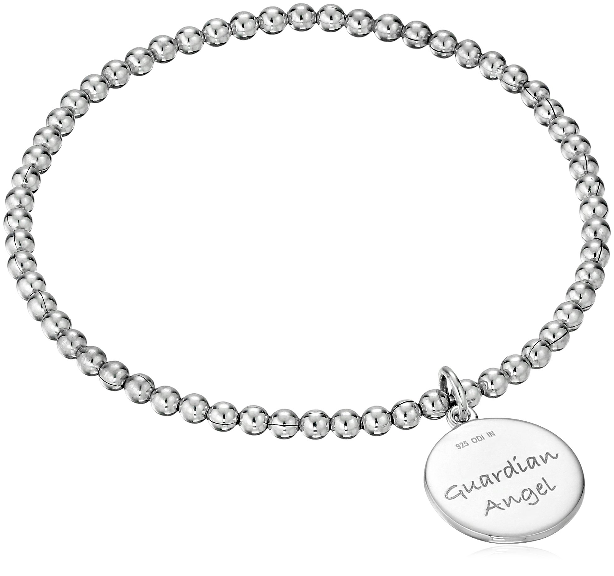 Sterling Silver Diamond Accent ''Guardian Angel'' Stretch Bead Charm Bracelet by Amazon Collection (Image #2)
