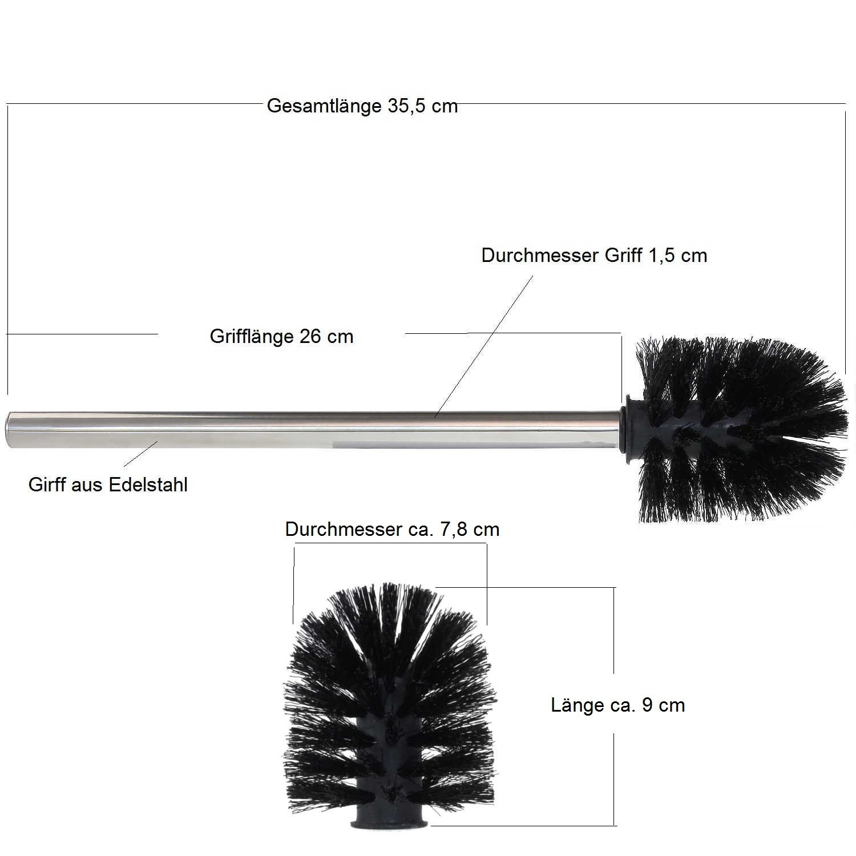 sanixa® Universal para escobilla 7, 8 cm Juego de 3 de reemplazo de WC Cepillo Negro Mango de acero inoxidable 26 cm Cepillo de repuesto para escobilla de ...