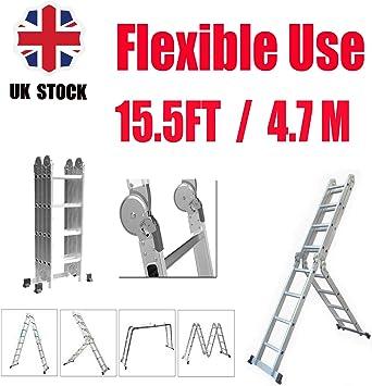Escalera de aluminio multiusos portátil 14 en 1 de 4,7 m, multiposición, escalera de extensión, bloqueo de seguridad compacto, carga máxima de 150 kg: Amazon.es: Bricolaje y herramientas