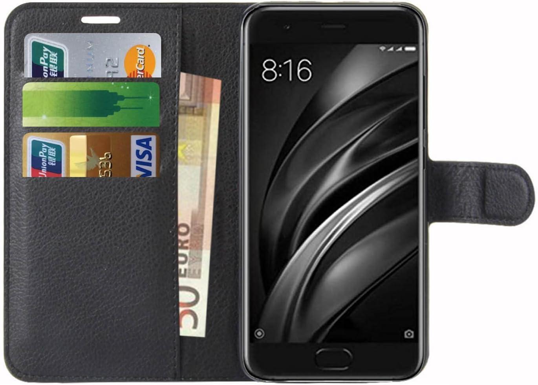 Xiaomi Mi 6 Case, Anzhao Flip Cover Wallet z gniazdem kart Skórzany pokrowiec ochronny dla Xiaomi Mi 6 (czarny)