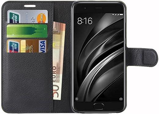 Capa Xiaomi Mi 6, Anzhao Capa Flip Wallet com Slot para Cartão Capa de Couro Protetora para Xiaomi Mi 6 (Black)
