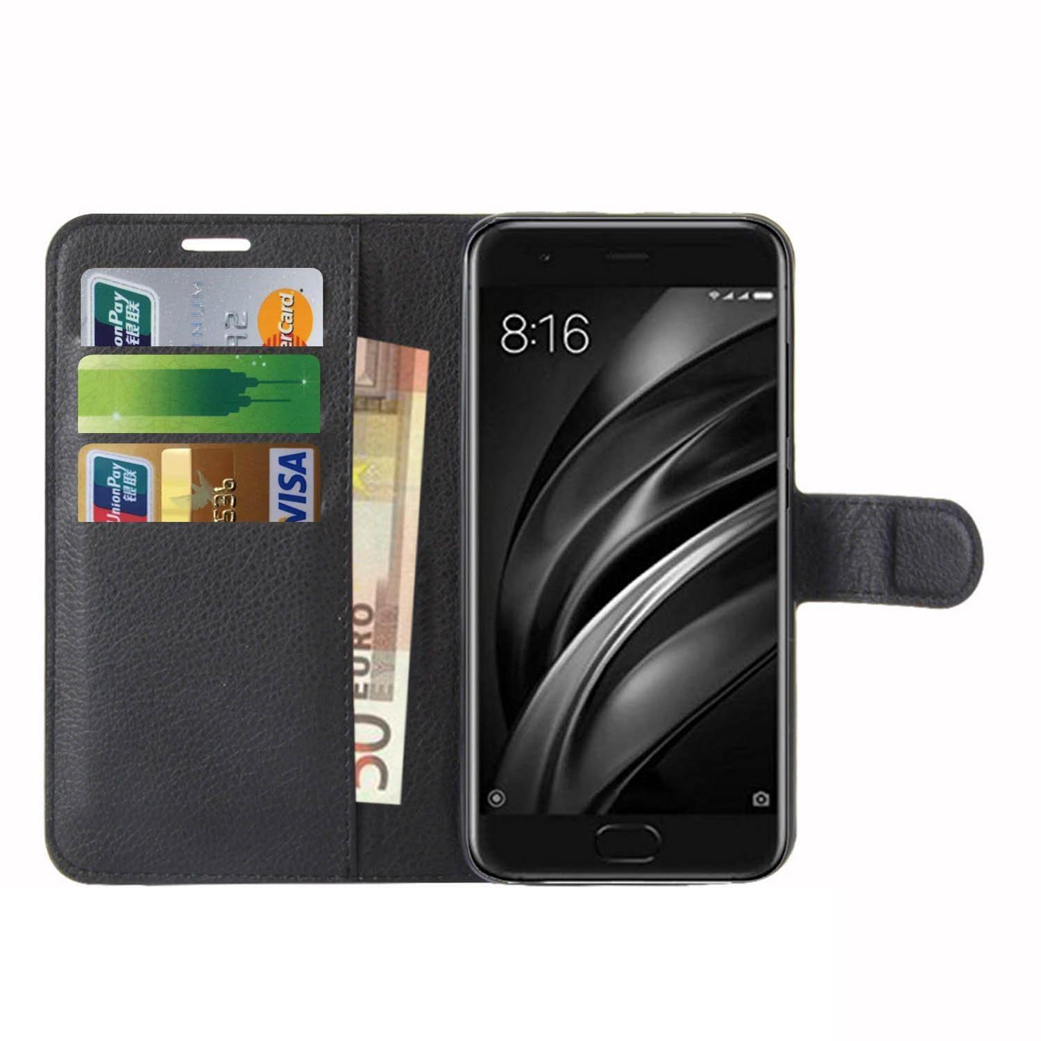 Xiaomi Mi 6 Case, Anzhao Flip Cover Wallet with Card Slot Protective Leather Case for Xiaomi Mi 6 (Black)