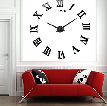 Amazon.com : Modern Design DIY 3D Big Wall Clock Home Decor Quartz Horloge Wall Watch Stickers Reloj De Pared Acrylic Mirror Clocks 20 Inch (Black Color) : ...