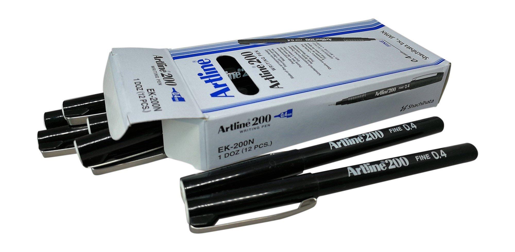 Artline Black Fineliner Pens, Fine point Tip 0.4mm Line Black Pen Ref A2001 [Pack of 12] by artline (Image #1)