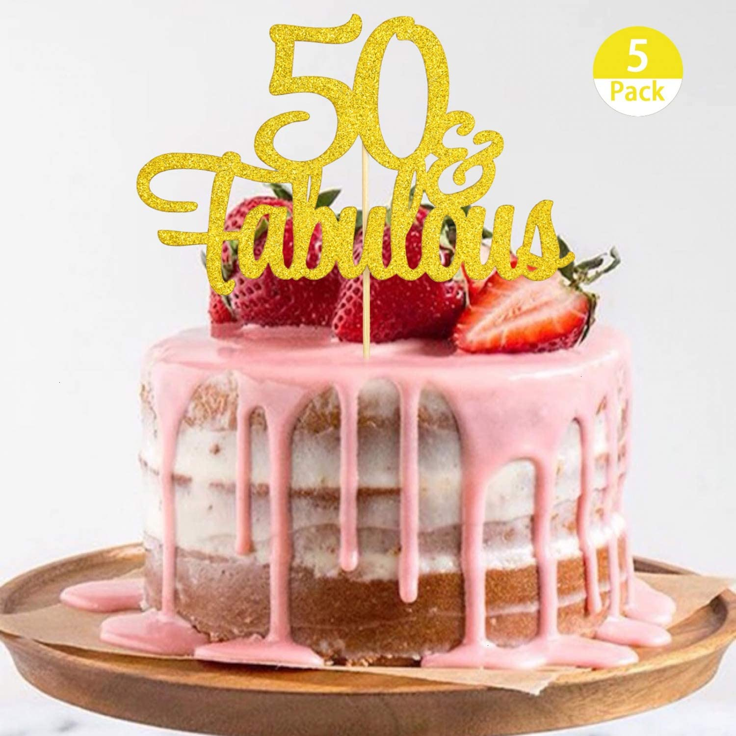 Outstanding Amazon Com Pomeat 5Pcs 50Th Birthday Cake Topper Gold Glitter 50 Funny Birthday Cards Online Overcheapnameinfo