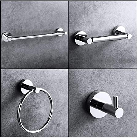 Chrome Bathroom Accessory Set 4-Piece Suction Toilet Towel Tray Hanging Holder