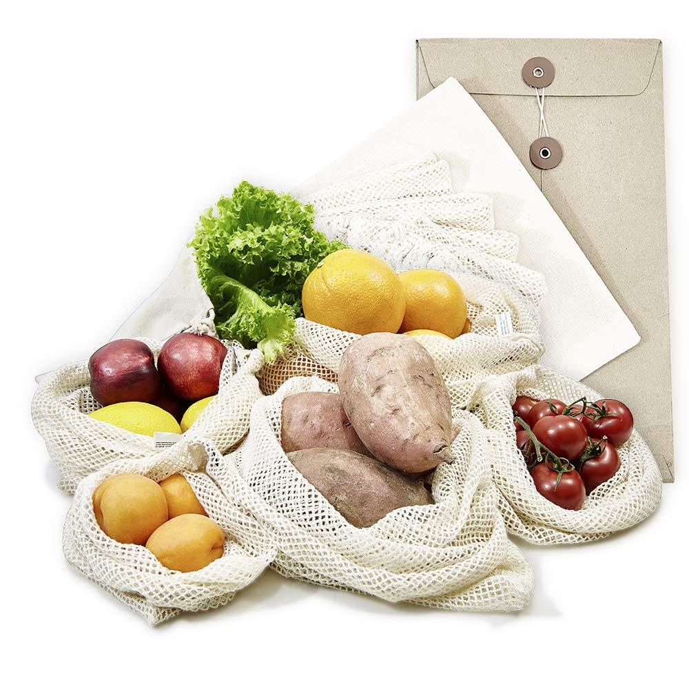 achilles sacs à fruits et légumes, filets à fruits et légumes, sacs en tissu, sacs à provisions, set de 6 sacs à provisions avec couvercle (différentes tailles 2x XL, 2x L, 1x M + 1 x sac à pain), réutilisables, lavables, sans plastique, en 100% coton. ach
