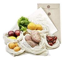achilles Obst- und Gemüsebeutel, Obst- und Gemüsenetze, Stoffbeutel, Einkaufsbeutel, 6er Set Einkaufstaschen inkl. Hülle (verschiedene Größe 2x XL, 2x L, 1x M + 1 x Brotbeutel) wiederverwendbar, waschbar, plastikfreie Einkaufsnetze aus 100% Baumwolle