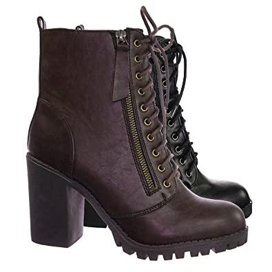 d2bec7cd01c3 SODA Malia Vegan Round Toe Stacked Lug Heel Lace Up Ankle Booties Brown  (5.5)