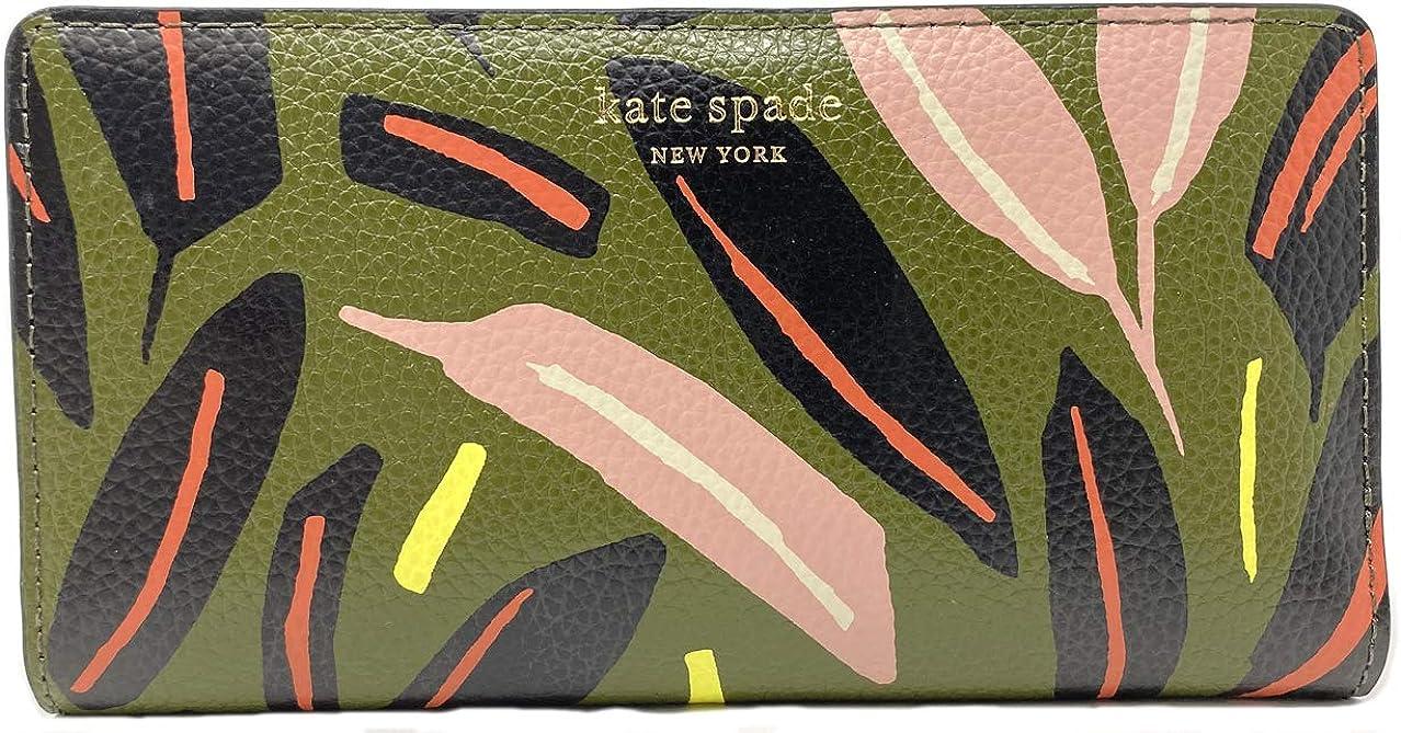 Kate Spade New York Cameron Large Slim Bifold Wallet (Green Multi)