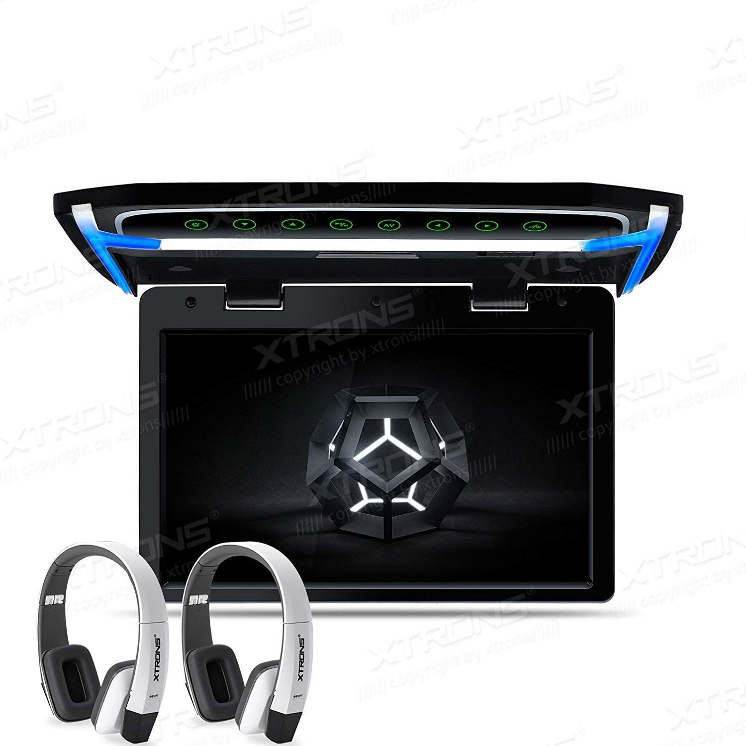 XTRONS 12.1 Inch 1080P Video Car Overhead Player Roof Mounted Monitor HDMI Port White New Version IR Headphones