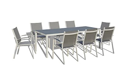 UrbanFurnishing.net   9 Piece Modern Outdoor Patio Dining Set   White/Gray