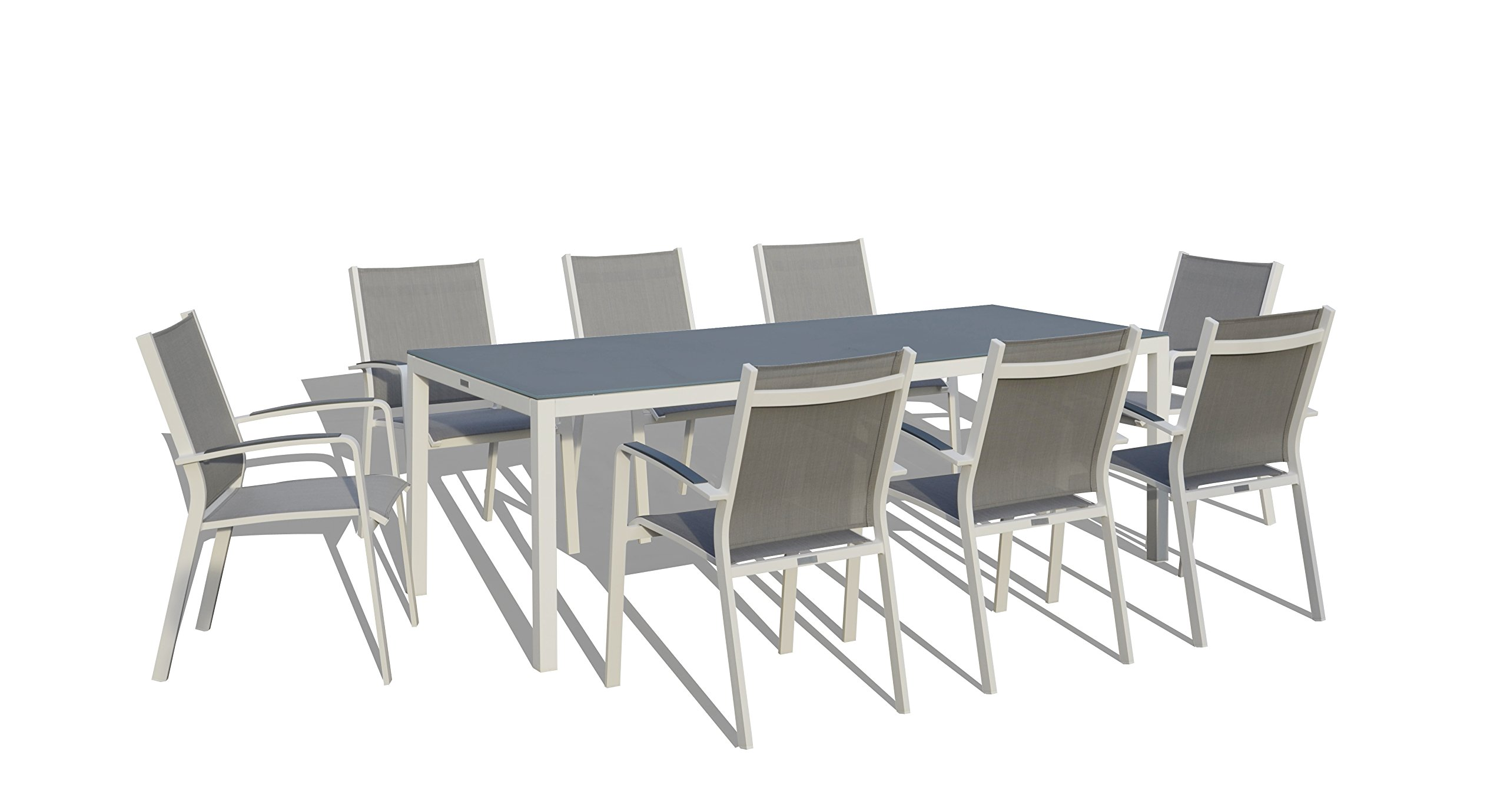 UrbanFurnishing.net - 9 Piece Modern Outdoor Patio Dining Set - White/Gray - Ultra Modern Luxury Design with plenty of seating White Powdercoated Aluminum Frame with Gray Matte frosted glass top table Chairs are made from comfortable woven sling material and stackable - patio-furniture, dining-sets-patio-funiture, patio - 71r2q7K23AL -