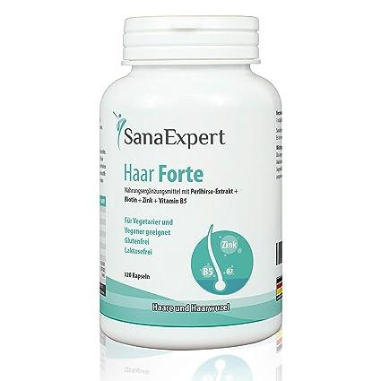 SanaExpert Haar Forte, Suplemento Capilar para el Crecimiento y Fortalecimiento del Pelo con Biotina, Zinc y Mijo de Perla, 120 Cápsulas