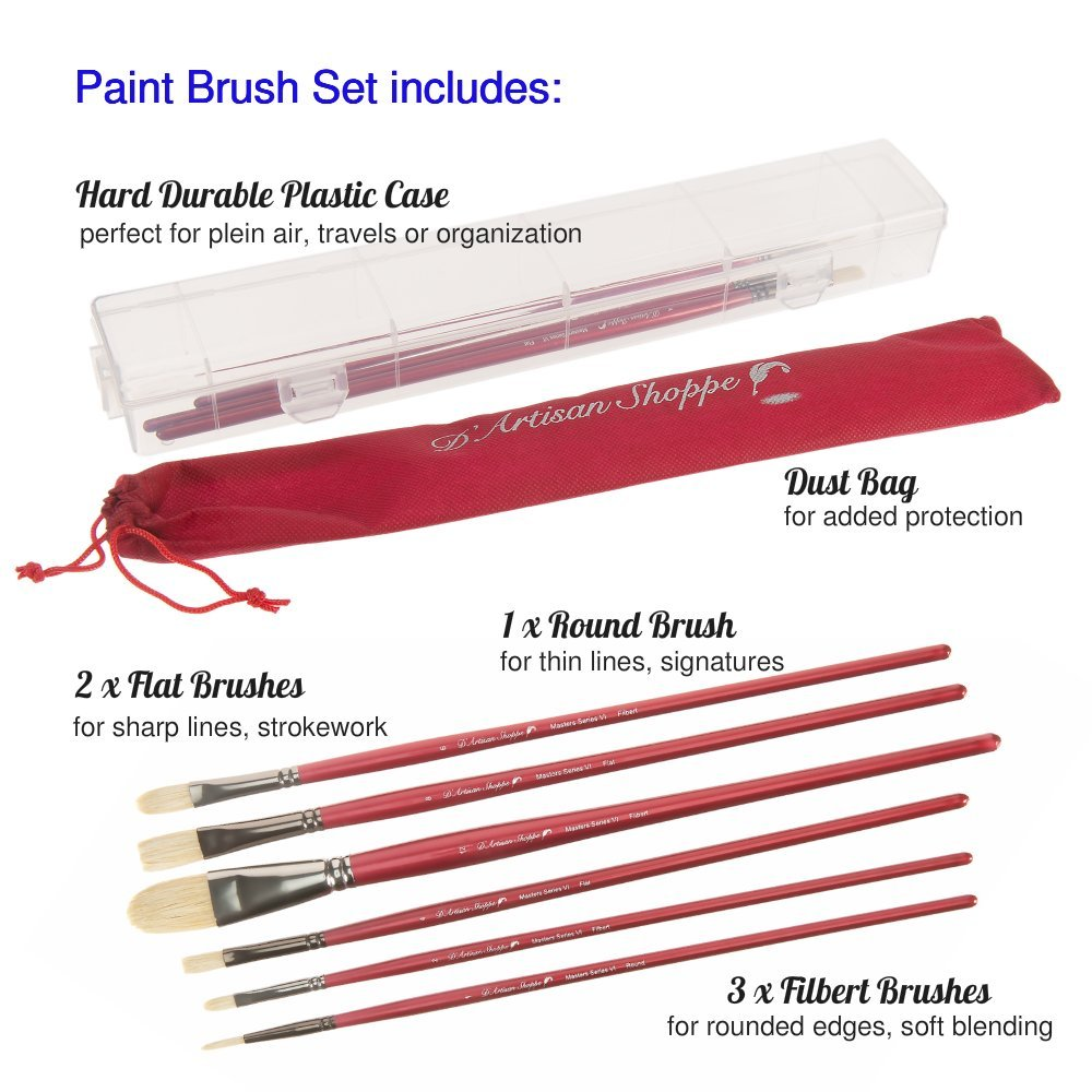 Oil Acrylic Paint Brushes 100% Natural Chungking Hog Hair Bristle in Portable Organizer Plastic Container. 6pc Filbert Flat and Round Paintbrush Set by D'Artisan Shoppe (Image #2)
