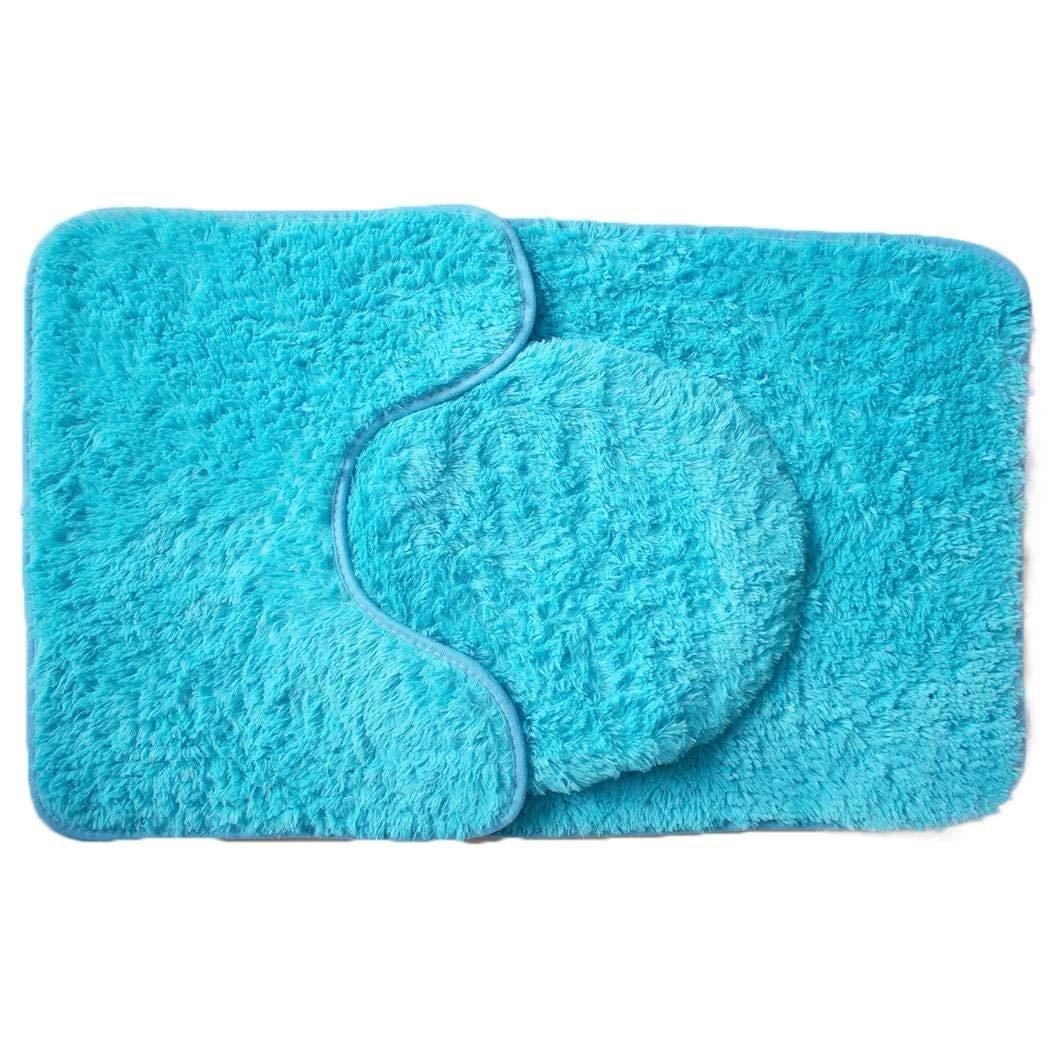keelied New Bathroom Solid Tappetino da Bagno Tappetino da Bagno Set da 3 Pezzi Assorbimento dAcqua Antiscivolo Tappeti