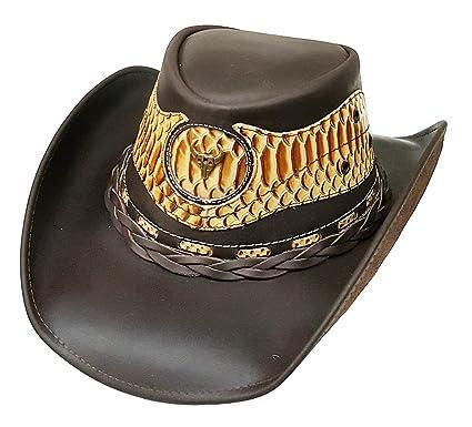 023b0040e Modestone Unisex Cowboy Leather Hat Leather Snake Skin Pattern ...