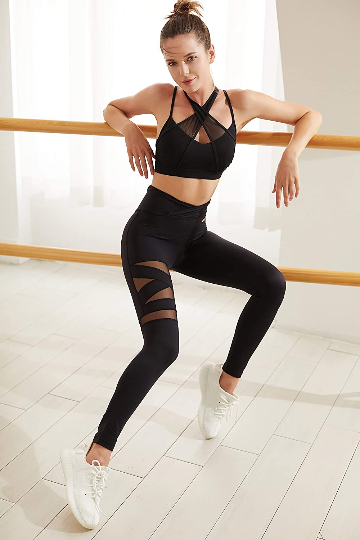 WISKII Yoga Pants WS433 Women's Mesh Yoga Pants Non See-Through High Waist V-Shape Tummy Control 4 Way Stretch Leggings