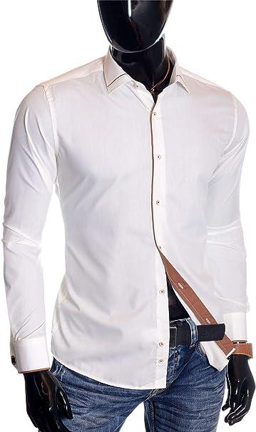 D&R Fashion Hombre Camisa de Vestir de Marfil Doble puños ...