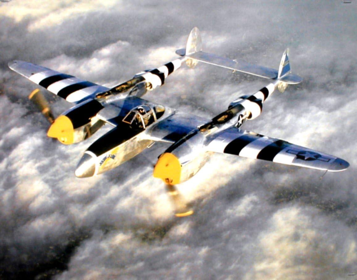 WWII P-38 Lightning Fighter Jet Plane Aviation Aircraft Wall Decor Art Print Poster (16x20)