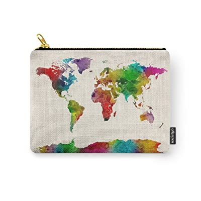 Society6 Watercolor Map Of The World Map Carry All Pouch Cheap