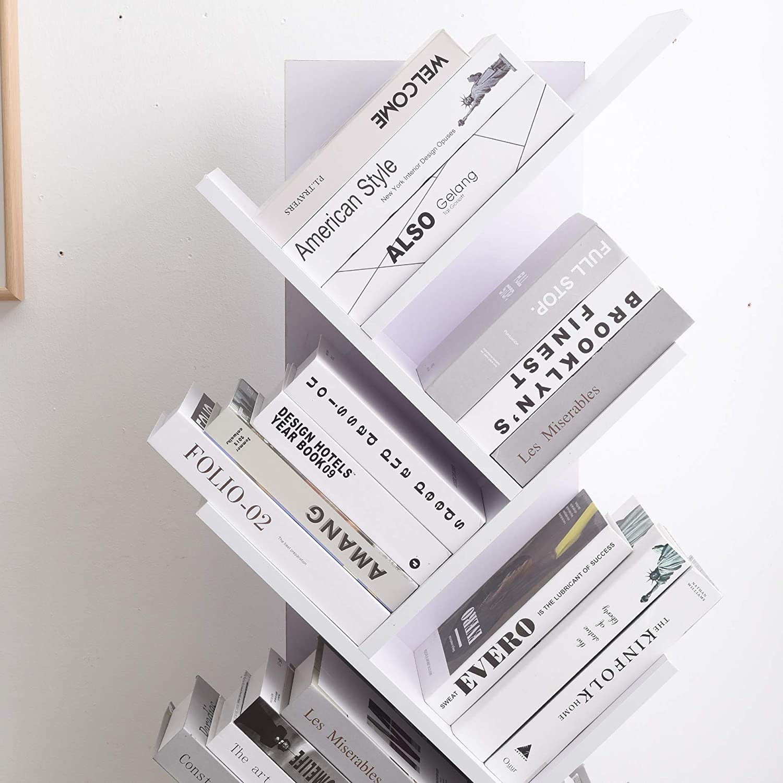 Rebecca Mobili Shelf Bookcase 10 Shelves Wood MDF Brown Scandinavian Style Modern Home Office -160 x 44,5 x 22 cm (H x W x D) - Art. RE4792 White