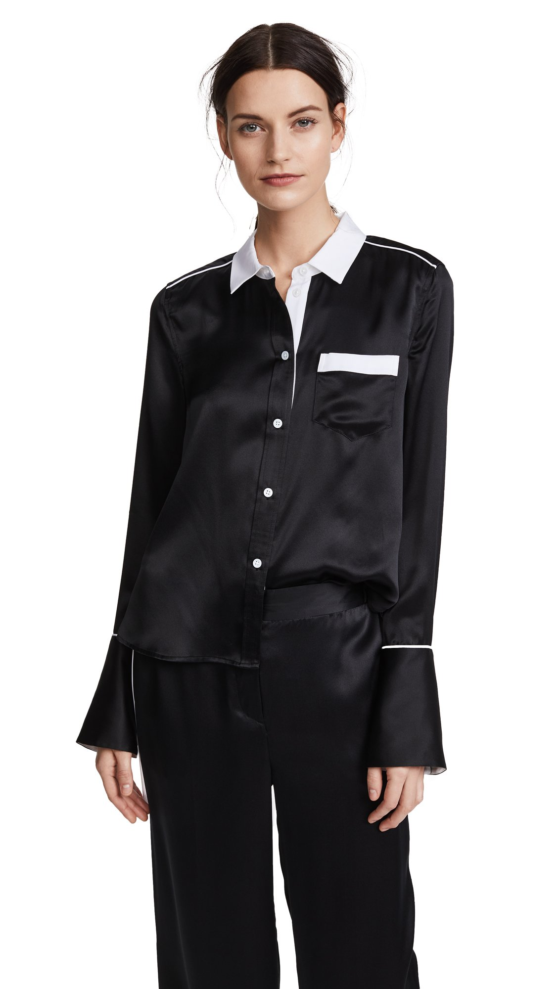 Equipment Women's Sandwashed Satin With Contrast Huntley Blouse, True Black, S