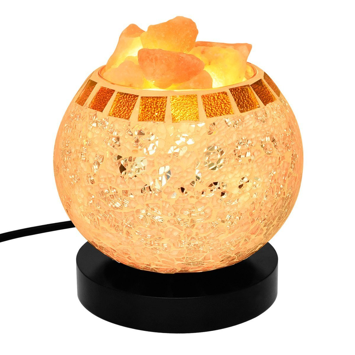 Himalayan Salt Lamp Natural Crystal Salt Lamp Night Light Salt Chunks in Glass Bowl with Wood Base Bulb and Dimmer Control for Home Decorations and Gift by COOWOO