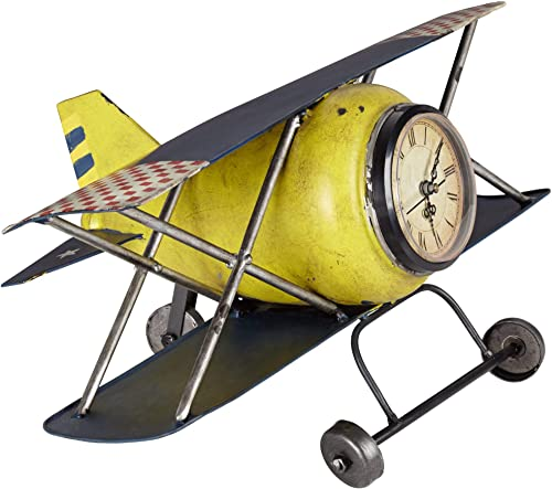 Kensington Hill Wright Classic 15 Wide Yellow Airplane Clock