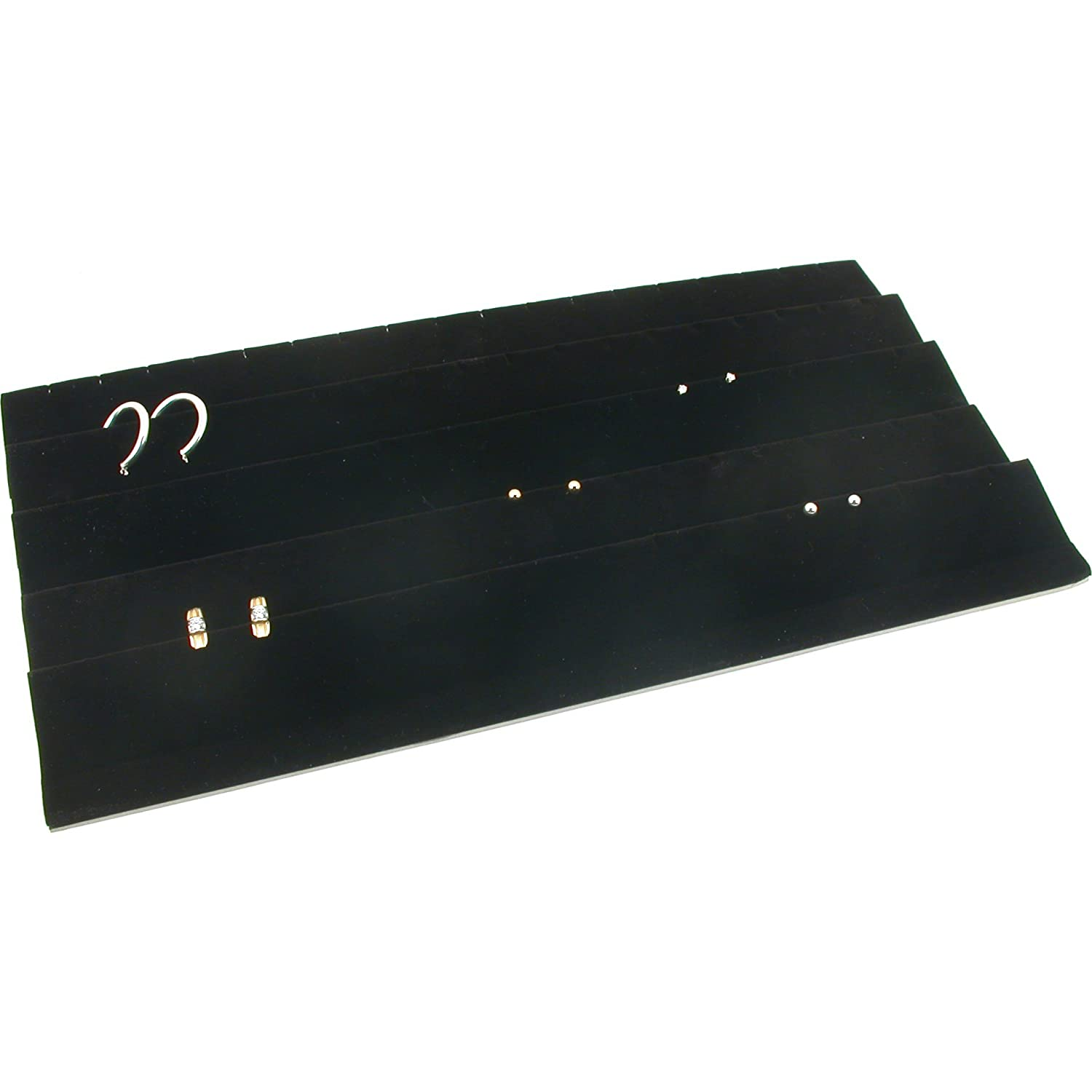Earring Display Tray Black Velvet 45 Pair Travel Box 92-E3
