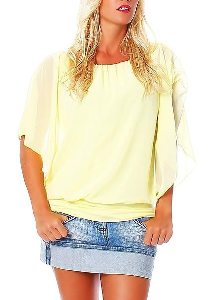 Malito Elegante Blusa Túnica Parte Superior Top Obersized 6296 Mujer Talla Única (Amarillo)