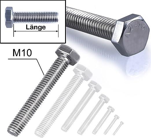 M6/6/mm x 45/mm 50/St/ück Wirbel A2/Edelstahl Vollgewinde Sechskantschraube
