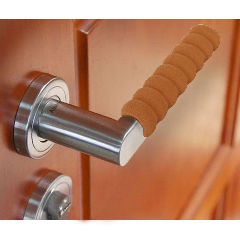 5 PCS Soft Door Knob Covers Pad Cases Baby Children Kids Safety Supplies for Doorknob Diameter 1.9-3.5cm Beige