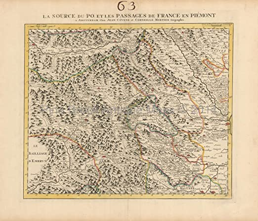 Map Of The Alps In France.Amazon Com French Alps France Antique Map Covens Mortier 1745