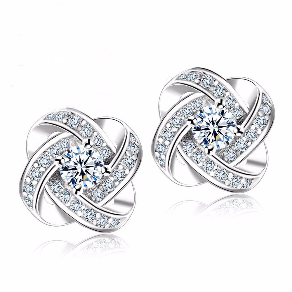 Love Knot Cubic Zicrconia By Lemon Sherbet Silver-Plated Stud Earrings For Women 1 Set