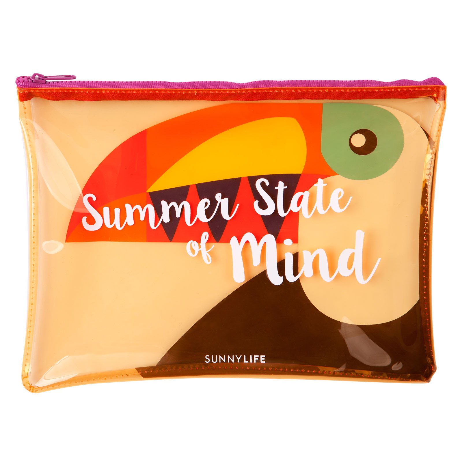 SunnyLIFE See Thru Beach Zipper Pouch Waterproof and Stylish Translucent Soft Plastic Handbag - Toucan