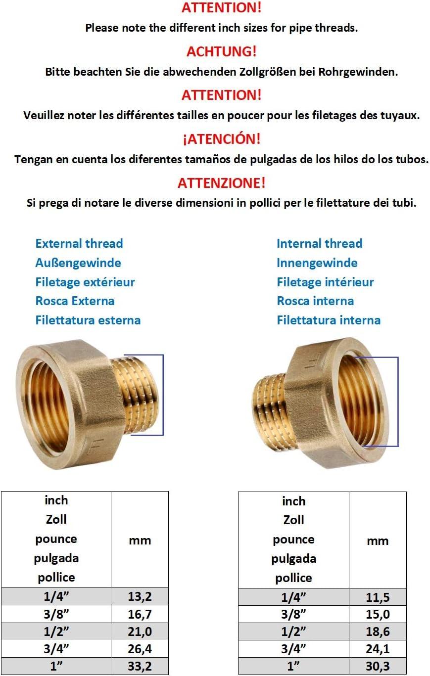 Rallonge de valve de radiateur rond en laiton 15 mm 3//8 laiton 15