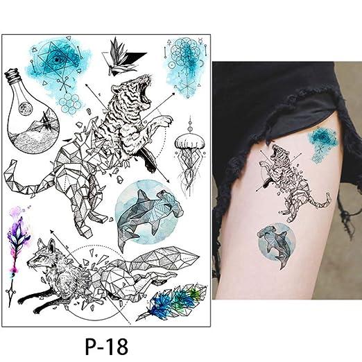 adgkitb 3 Piezas de Dibujo Coloreado Tatuaje Flamenco Lindo Gato ...