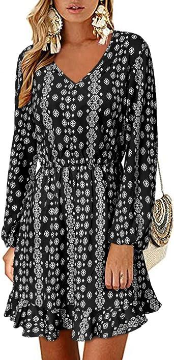 Style Dome Vestido de manga larga para mujer, estilo túnica con cuello en V, estilo bohemio, con lunares, vestido corto y holgado, para fiesta de ...